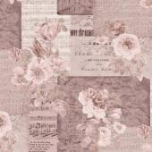 Ткань лоскутная Peppy 4500 ЦВЕТЫ НА НОТАХ розовая 50х55см
