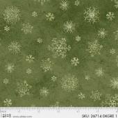 Ткань лоскутная Peppy WINTER'S FRIENDS снежинки на зеленом 50х55см