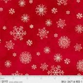 Ткань лоскутная Peppy WINTER'S FRIENDS снежинки на красном 50х55см