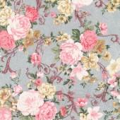 Ткань лоскутная Peppy LADY ELIZABETH цветы на сером 50х55см