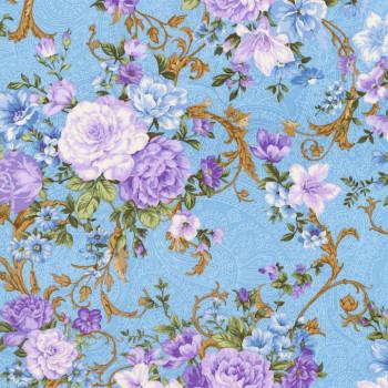 Ткань лоскутная Peppy LADY ELIZABETH цветы на голубом 50х55см