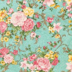 Ткань лоскутная Peppy LADY ELIZABETH цветы на бирюзовом 50х55см