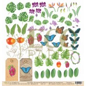 Лист бумаги для скрапбукинга EcoPaper НАТУРАЛИСТ коллекция Тропикана 30х30см