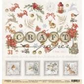 Лист бумаги для скрапбукинга CraftPaper РЯБИНОВЫЙ (обложка) коллекция Лесная сказка 30х30см