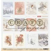 Лист бумаги для скрапбукинга CraftPaper КАРТОЧКИ коллекция Лесная сказка 30х30см
