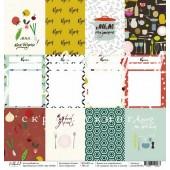 Лист бумаги для скрапбукинга Polkadot КАРТОЧКИ коллекция Кухня 30х30см