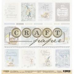 Лист бумаги для скрапбукинга CraftPaper КАРТОЧКИ коллекция Зимний ангел 30х30см