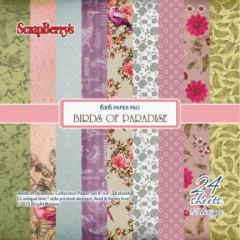 Набор бумаги для скрапбукинга Scrapberry's РАЙСКИЕ ПТИЦЫ 15х15см
