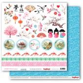 Лист бумаги для скрапбукинга Scrapberry's МИГ ВРЕМЕНИ коллекция Сны о Японии 30х30см