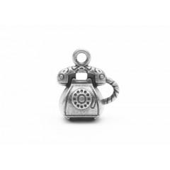 Металлическая подвеска РЕТРО ТЕЛЕФОН цвет серебро