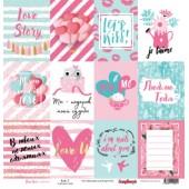 Лист бумаги для скрапбукинга Scrapberry's КАРТОЧКИ 2 коллекция История нашей любви 30х30см