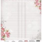 Лист бумаги для скрапбукинга Scrapberry's ПИОНЫ коллекция Элегия 30х30см