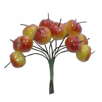 Декоративные яблочки желто-красные