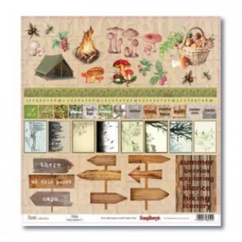 Лист бумаги для скрапбукинга Scrapberry's В ПОХОД ЗА ГРИБАМИ 2 коллекция В лесу 30х30см