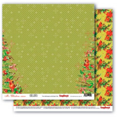 Лист бумаги для скрапбукинга Scrapberry's МАЛИНОВКИ коллекция Рождественская Омела 30х30см