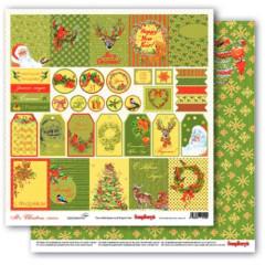Лист бумаги для скрапбукинга Scrapberry's ТЭГИ коллекция Рождественская Омела 30х30см