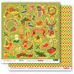 Лист бумаги для скрапбукинга Scrapberry's ДЕКОР коллекция Рождественская Омела 30х30см