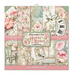 Набор бумаги для скрапбукинга Stamperia HOUSE OF ROSES 30х30см