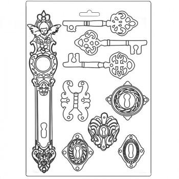 Форма для моделирования Stamperia SOFT MOULD A4 LADY VAGABOND KEYS AND LOCKS