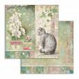 Набор бумаги для скрапбукинга Stamperia ORCHIDS AND CATS 20х20см