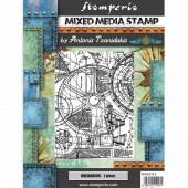 Штамп резиновый для микс медиа Stamperia MECHANISM