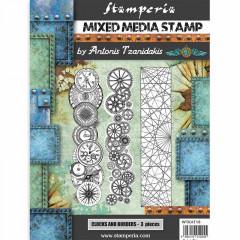 Набор резиновых штампов для микс медиа Stamperia CLOCKS AND BORDERS