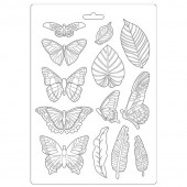 Форма для моделирования Stamperia SOFT MOULD A4 AMAZONIA LEAVES AND BUTTERFLIES