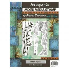 Набор резиновых штампов для микс медиа Stamperia SIR VAGABOND IN JAPAN BAMBOO