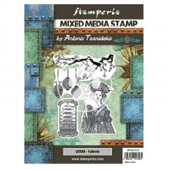 Набор резиновых штампов для микс медиа Stamperia SIR VAGABOND IN JAPAN LANTERN