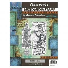Набор резиновых штампов для микс медиа Stamperia SIR VAGABOND IN JAPAN DRAGON