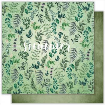 Лист бумаги для скрапбукинга Summer Studio HERBAL коллекция Wild Forest 30х30см