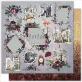 Лист бумаги для скрапбукинга Summer Studio WILD FOREST CARDS коллекция Wild Forest 30х30см