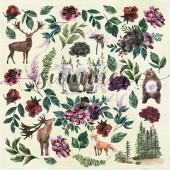 Лист с картинками для вырезания Summer Studio WILD FOREST 30х30см