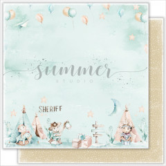 Лист бумаги для скрапбукинга Summer Studio HAPPY DAY коллекция Little Sheriff 30х30см