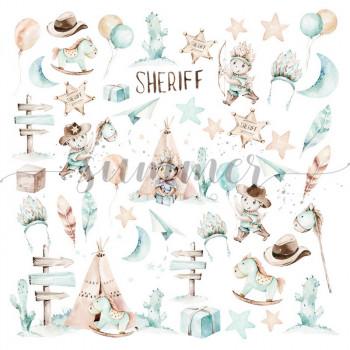 Лист с картинками для вырезания Summer Studio LITTLE SHERIFF 30х30см