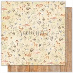 Лист бумаги для скрапбукинга Summer Studio DEER коллекция Forest Story 30х30см