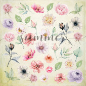 Лист с картинками для вырезания Summer Studio FLOWERS MORNING 20х20см