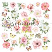 Лист с картинками для вырезания Summer Studio FLOWERS SPLASH 20х20см