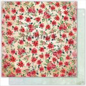 Лист бумаги для скрапбукинга Summer Studio WINTER AND RED коллекция The Holiday Spirit 30х30см