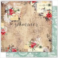 Лист бумаги для скрапбукинга Summer Studio CHRISTMAS TRIP коллекция The Holiday Spirit 30х30см