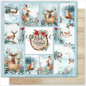 Лист бумаги для скрапбукинга Summer Studio CHRISTMAS CARDS коллекция The Holiday Spirit 30х30см