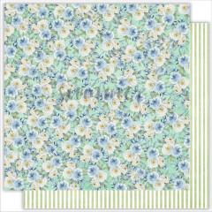 Лист бумаги для скрапбукинга Summer Studio FLOWER'S MORNING коллекция Sea Party 30х30см