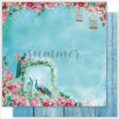 Лист бумаги для скрапбукинга Summer Studio HEAVENLY PLACE коллекция Bird of Paradise 30х30см