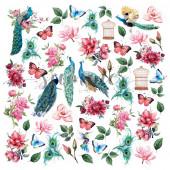 Лист с картинками для вырезания Summer Studio BIRD OF PARADISE 30х30см