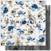 Лист бумаги для скрапбукинга Summer Studio FLORAL SPLASH коллекция Something Blue 30х30см