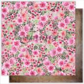 Лист бумаги для скрапбукинга Summer Studio FLOWERS SPLASH коллекция Dreamland 30х30см