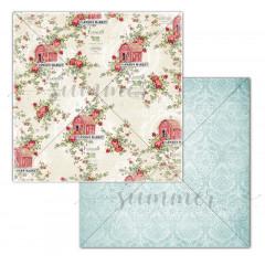 Лист бумаги для скрапбукинга Summer Studio FARM FLOWERS коллекция Farmhouse 30х30см