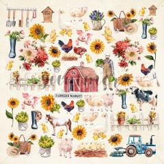 Лист с картинками для вырезания Summer Studio FARMHOUSE 30х30см