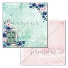 Лист бумаги для скрапбукинга Summer Studio BEHIND THE DOOR коллекция Blue Outside 30х30см