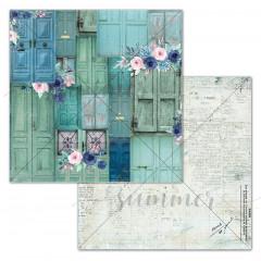 Лист бумаги для скрапбукинга Summer Studio BLOOMING DOORS коллекция Blue Outside 30х30см